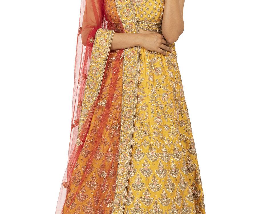 Yellow Silk Lehenga with Contrast Red Dupatta (Style Code: 2324501)