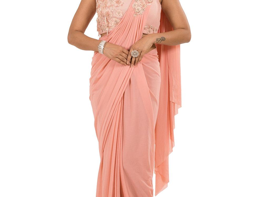 Peach Base Lycra Designer Stitch Draped Saree with Blouse (Style Code: 2385382)