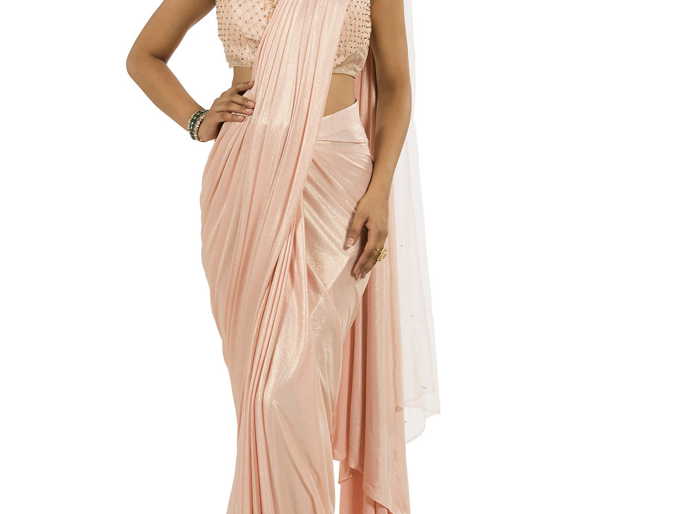 Peach Base Lycra Designer Stitch Draped Saree with Blouse (Style Code: 2362844)