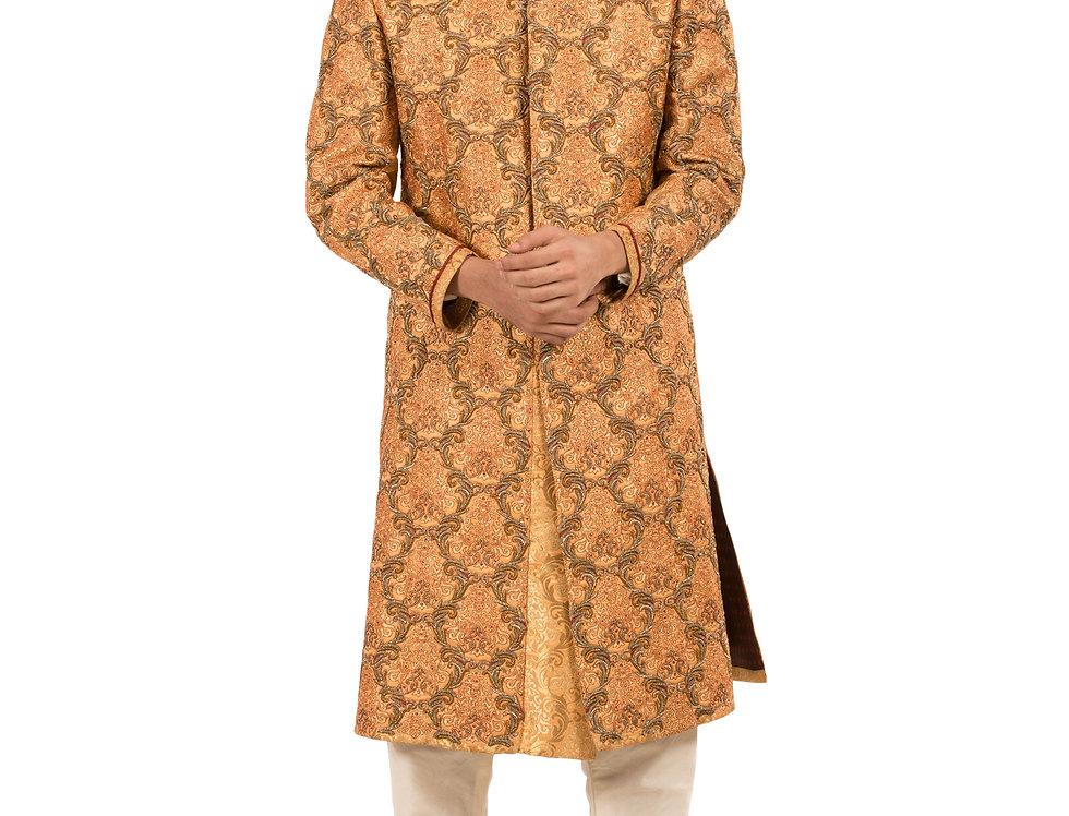 Gold Base Brocade Sherwani with Embroidery & Churidar (Style Code: 2108123)