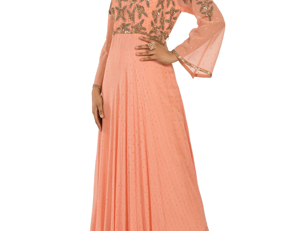 Peach Base Indo-Western Dress with Hand Embroidery (Style Code: 2343307)