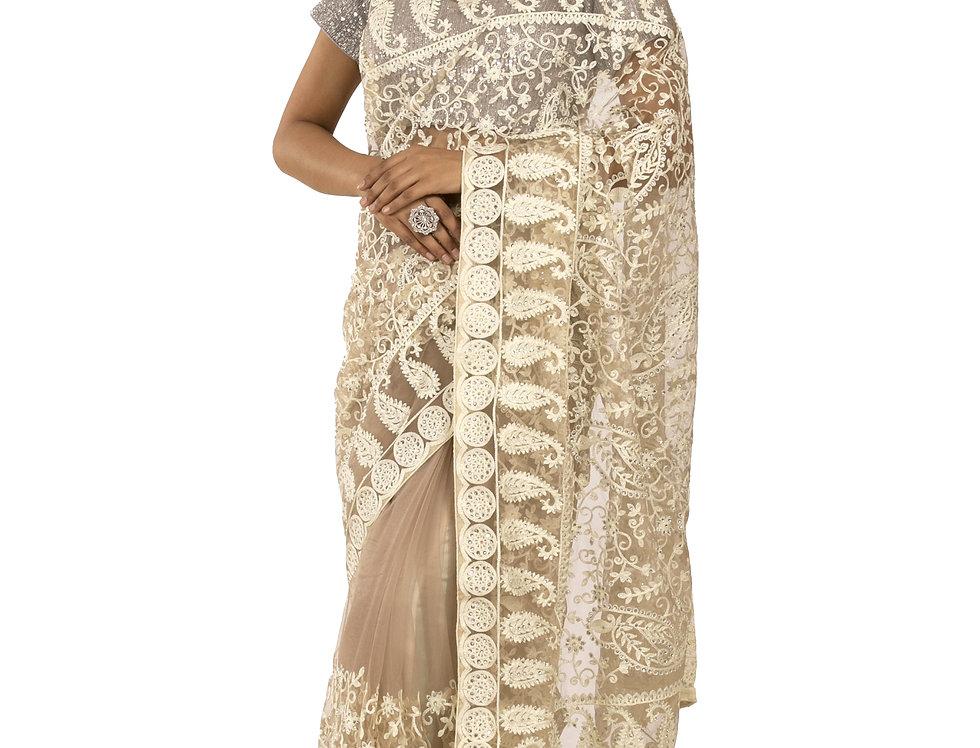 Beige Base Net Designer Saree with Fine Stone Work & Blouse (Style Code:2389756)