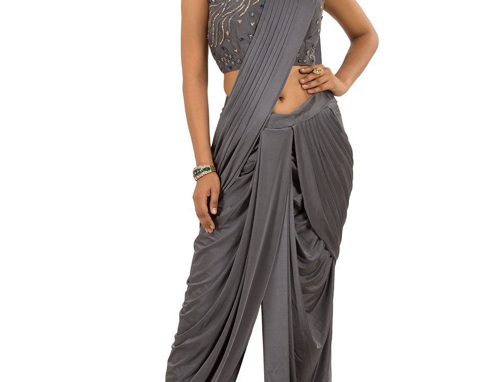 Grey Lycra Designer Stitch Draped Dhoti Saree & Blouse (Style Code: 2363657)