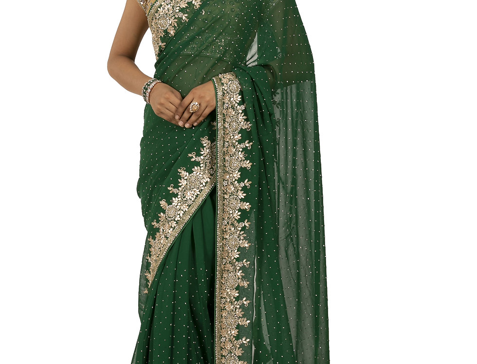 Green Base Georgette Designer Saree with Gota Work & Blouse (Style Code:2375386)