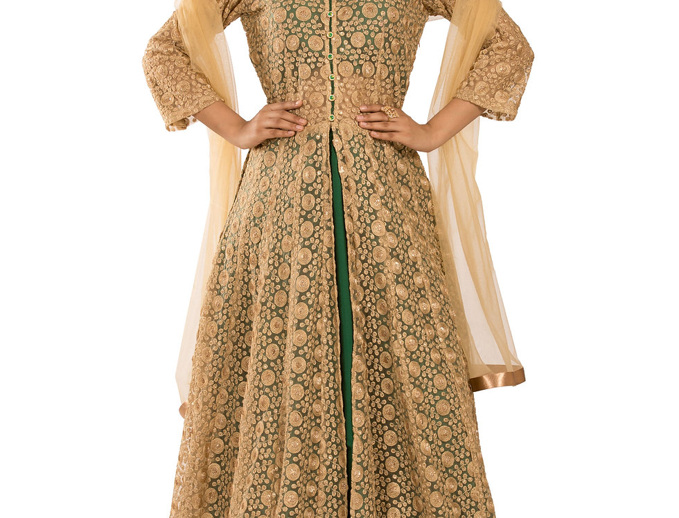 Gold & Bottle Green Readymade One Piece Suit & Dupatta (Style Code: 2336691)