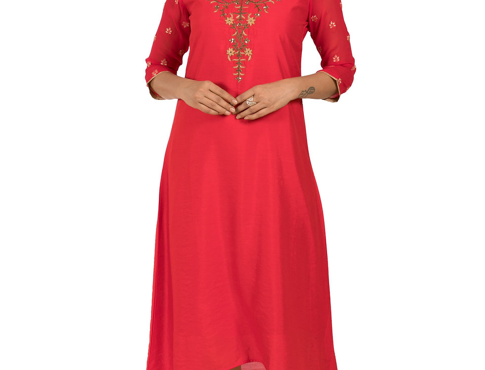 Red Base Georgette Kurti with Antique Work (Style Code: 2312210)