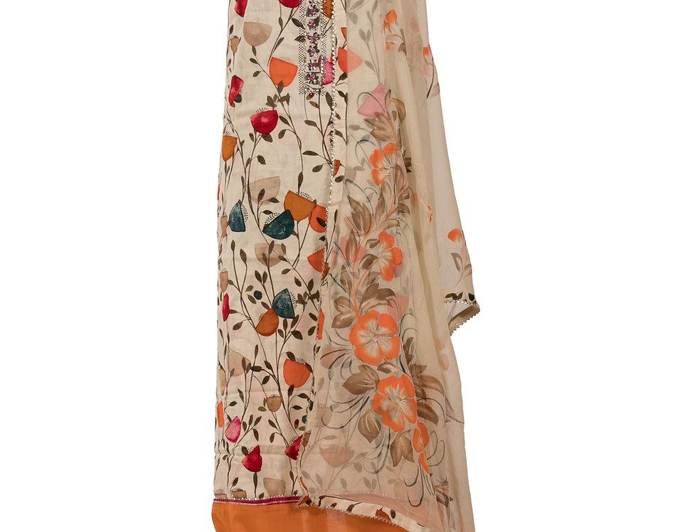 Cream Base & Orange Cotton Unstitched Suit Salwar & Dupatta (Style Code:2385081)