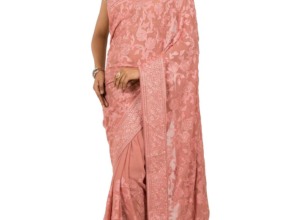 Peach Georgette Designer Saree with Threadwork & Blouse (Style Code: 2345472)