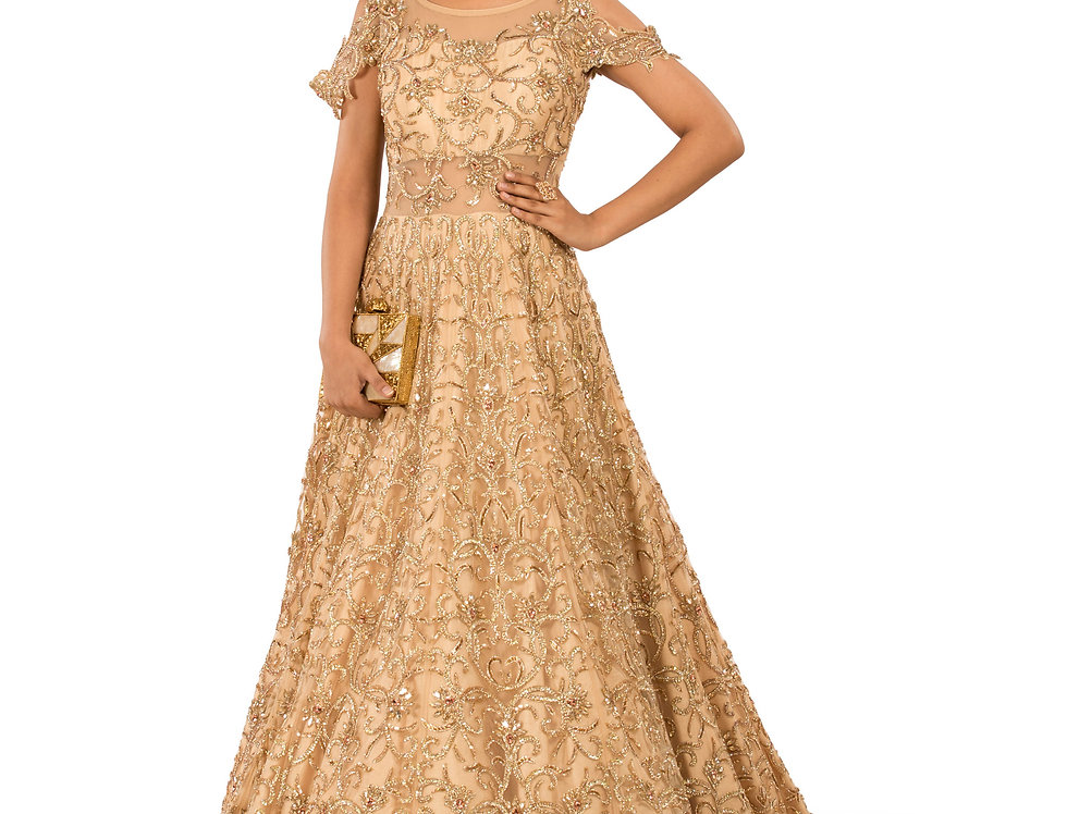 Gold Base Party Wear Gown with Sequence Work (Style Code: 2312913)
