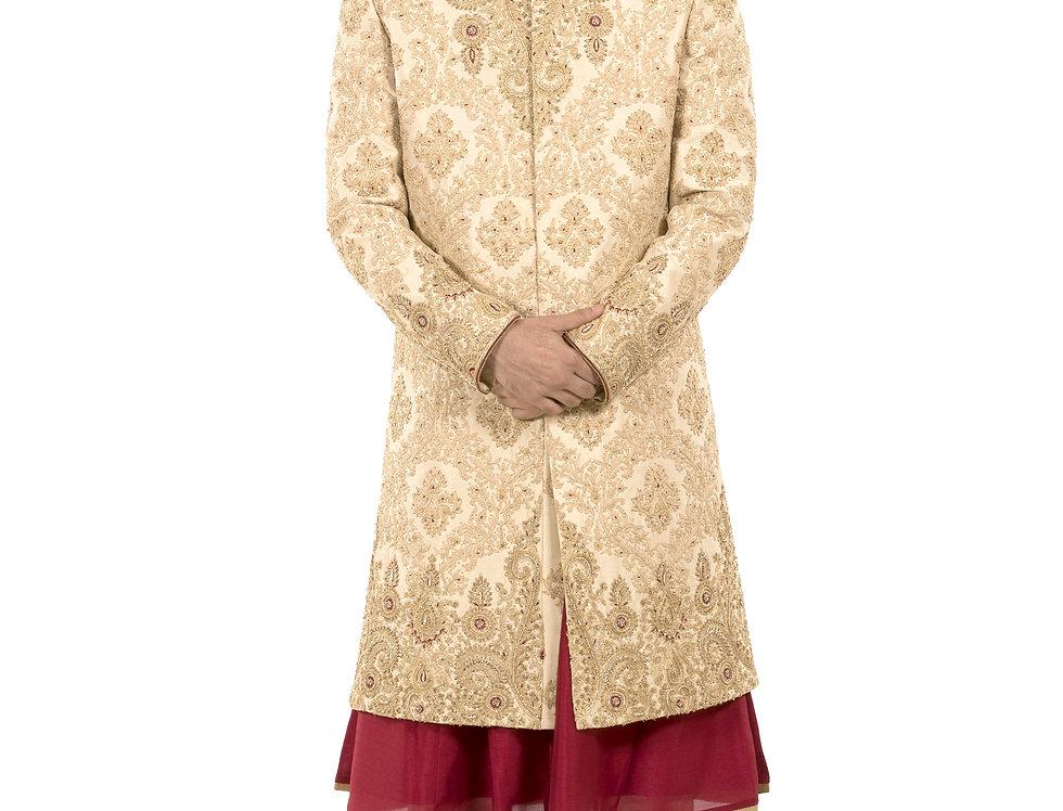 Gold Base Dupion Sherwani with Sequence & Resham Work (Style Code: 2371065)