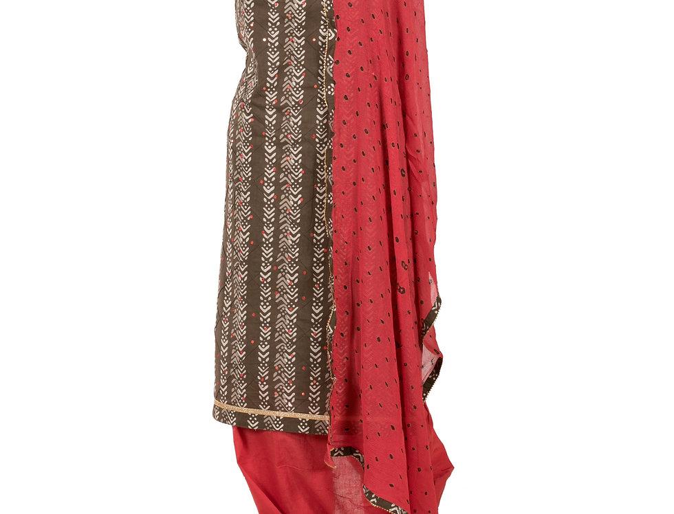Brown & Rust Base Cotton Unstitched Suit Salwar & Dupatta (Style Code: 2385276)