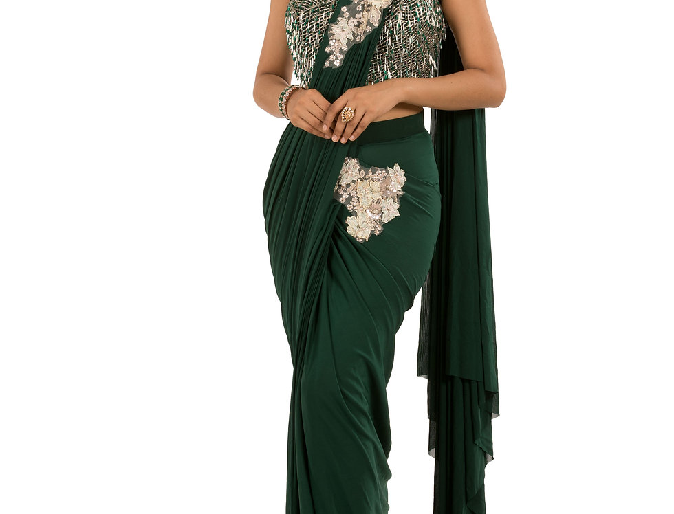 Green Base Lycra Designer Stitch Draped Saree with Blouse (Style Code: 2382742)