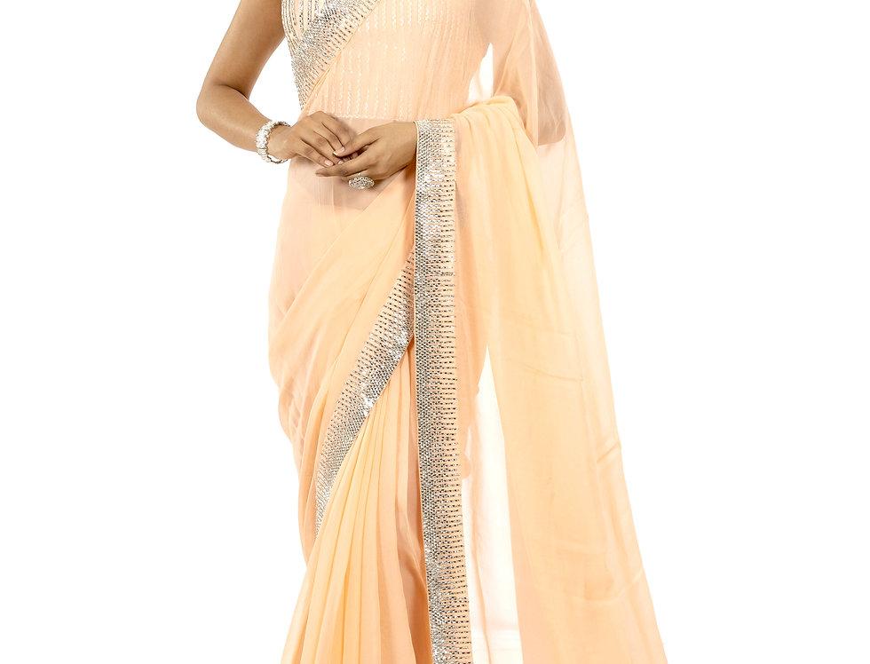 Peach Georgette Designer Saree with Stone Work & Blouse (Style Code: 2357959)