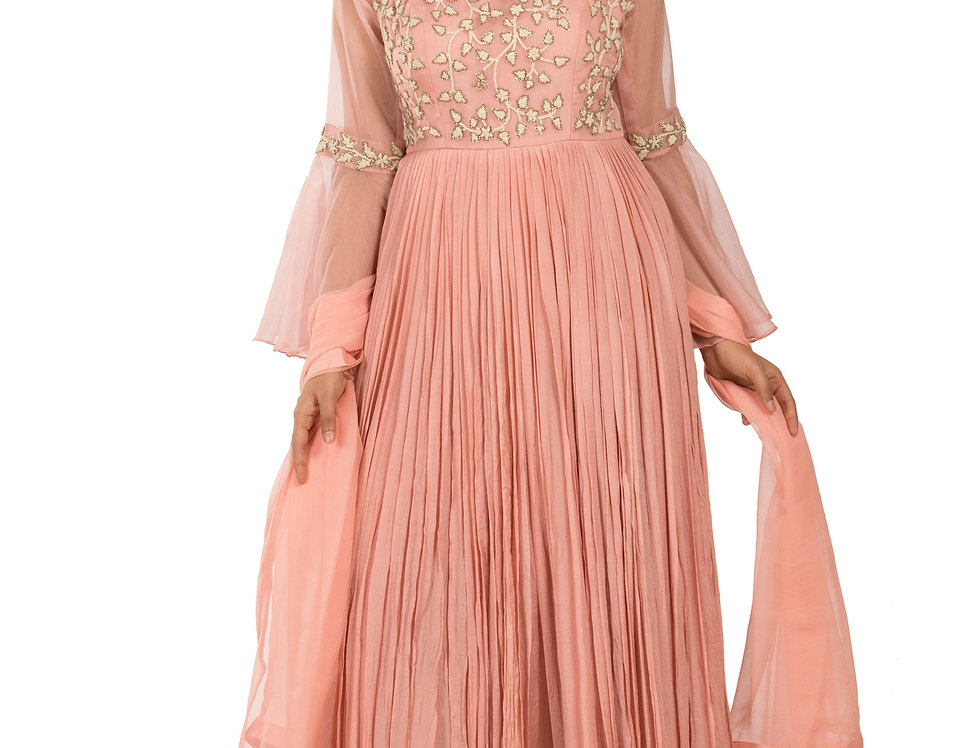 Peach Anarkali Suit with Beads & Handwork with Dupatta (Style Code: 2341676)