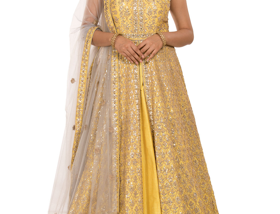 Lime Yellow Indo-Western Suit with Dupatta (Style Code: 2317237)