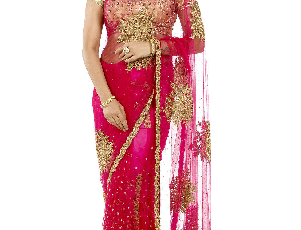 Magenta Net Saree with Dori, Zarkan & Stone Work & Blouse (Style Code: 2323451)