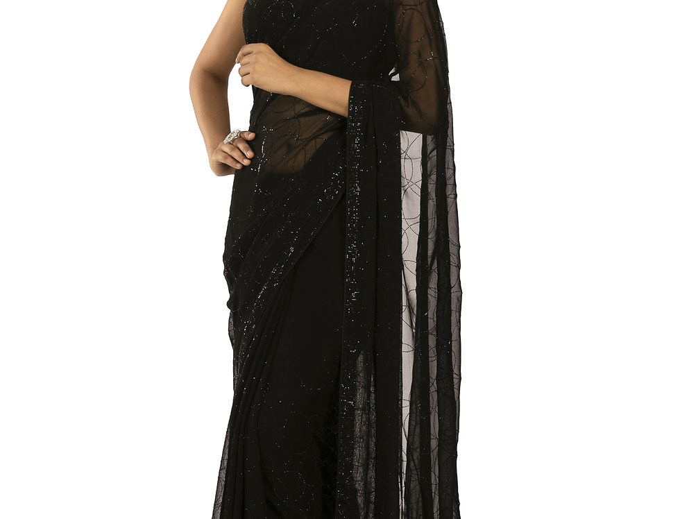 Black Base Georgette Designer Saree with Blouse (Style Code: 2381979)