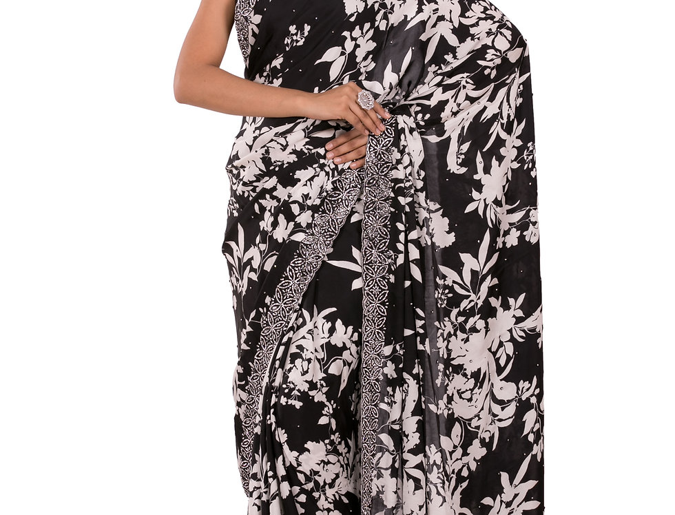 Black & White Printed Pure Satin Designer Saree & Blouse (Style Code: 2343344)