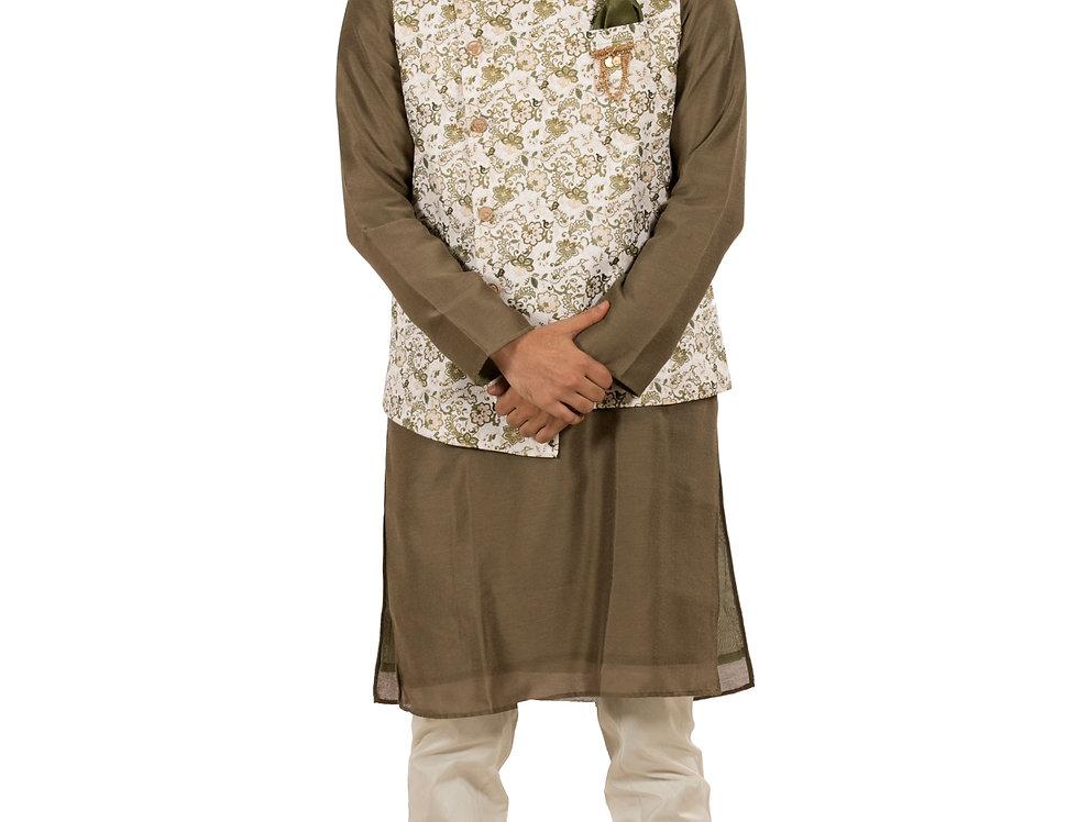 Brown Base Dupion Kurta Pajama with Dupion Waist Coat (Style Code: 2340521)