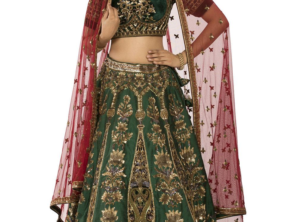 Emerald Green Designer Velvet & Silk Lehenga with Dupatta (Style Code: 2353862)