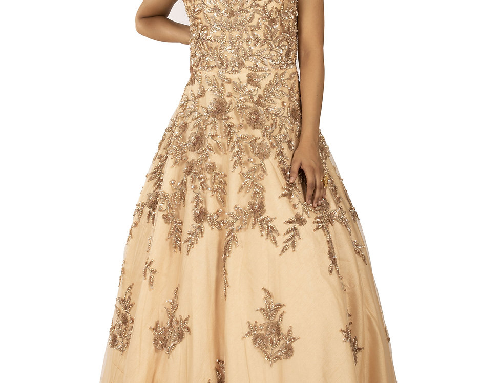 Rose Gold Party Wear Gown with Self sequence & Pearl Work (Style Code: 2367102)