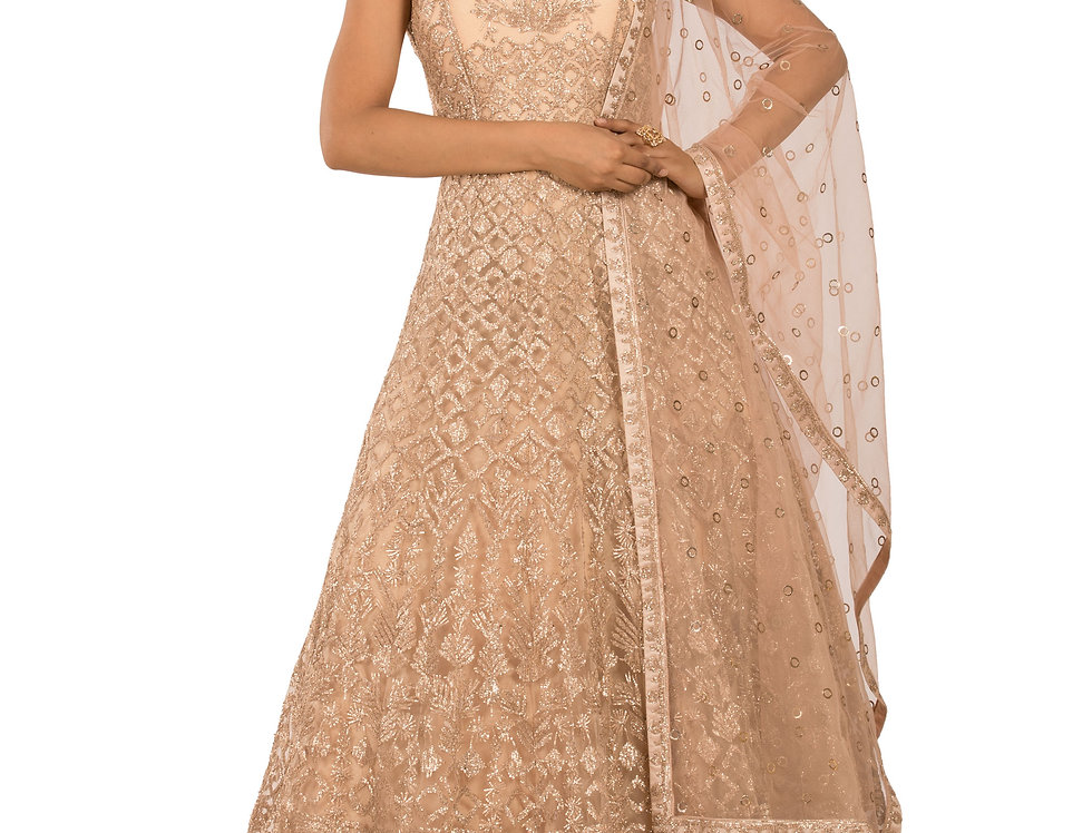 Light Peach Base Anarkali with Embroidery Work & Dupatta (Style Code: 2309031)