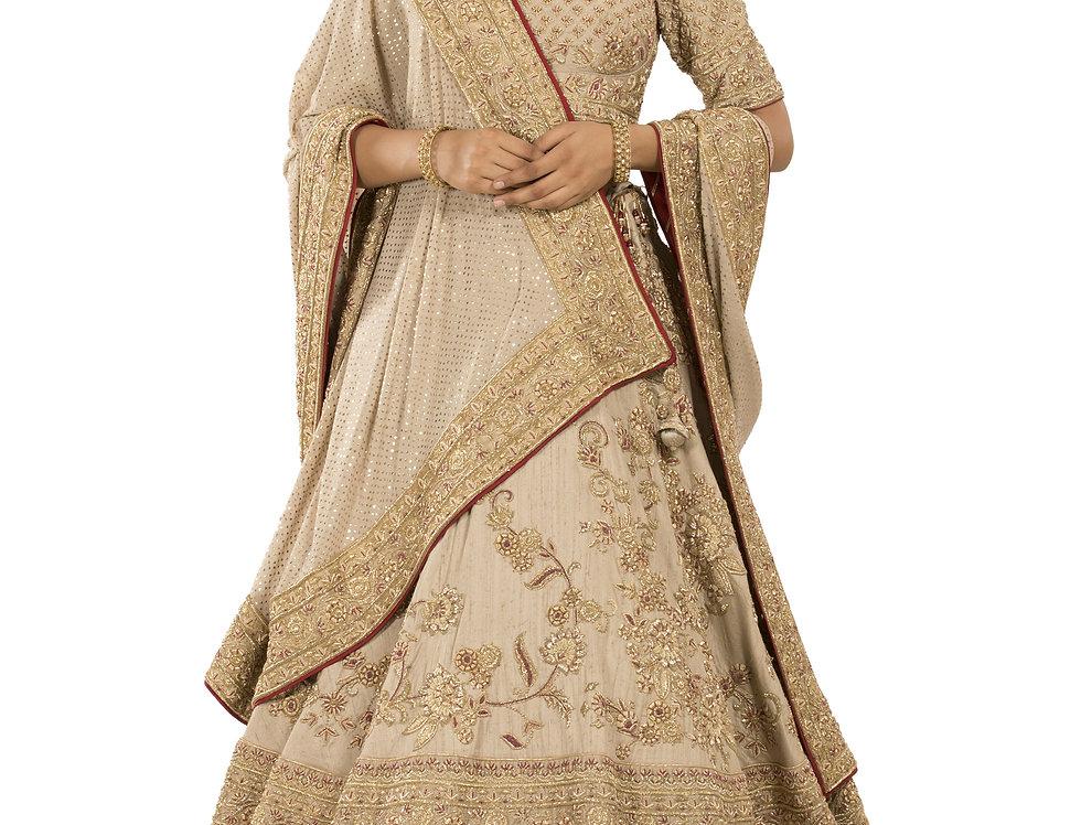 Rose Gold Designer Silk Mukaish Work Lehenga with Dupatta (Style Code: 2386038)