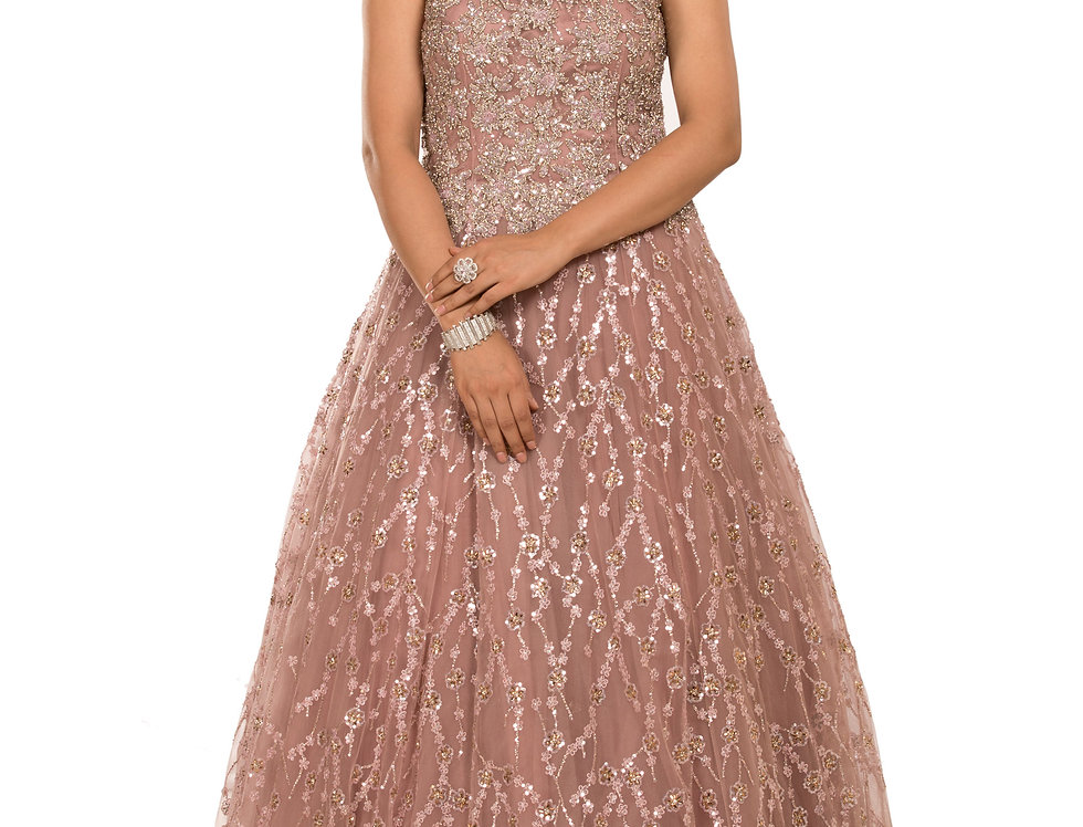 Onion Pink Party Gown with Self Sequence & Crystal Work (Style Code: 2389304)
