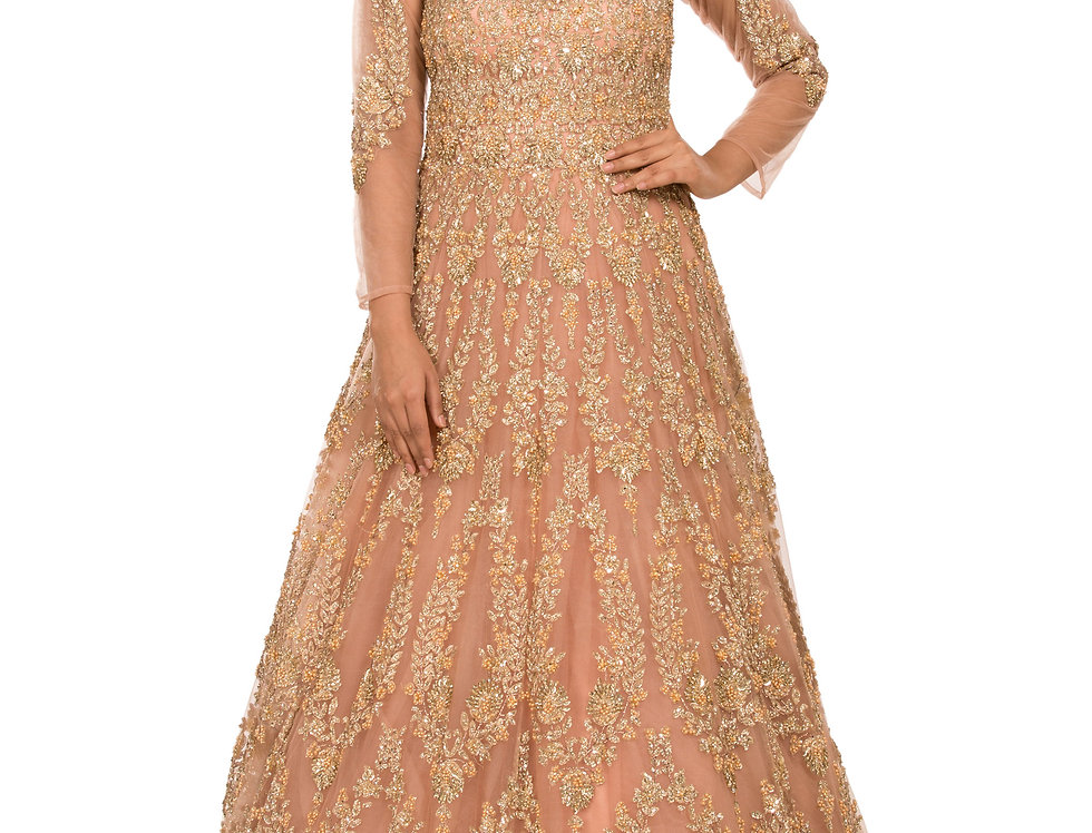 Peach Party Gown with Light Gold Embroidery (Style Code: 2344554)
