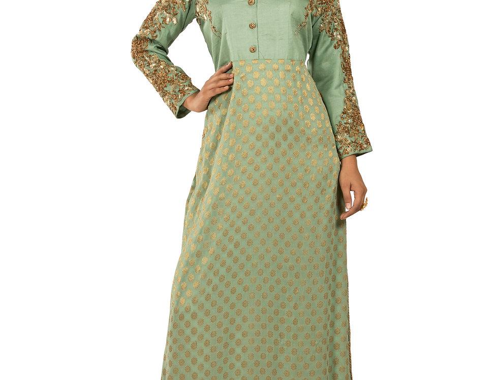 Green Base Khadi Western Dress with Antique Zari Work (Style Code: 2322918)