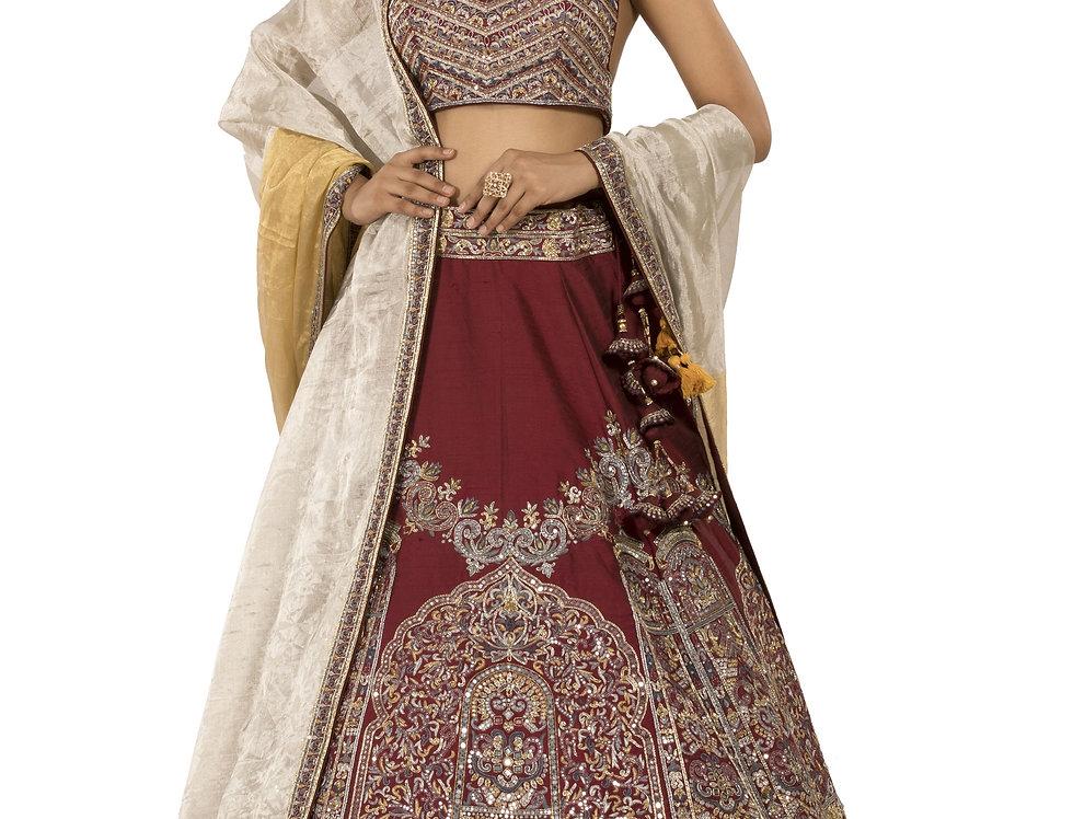 Maroon Silk Lehenga Set with Tissue Dupatta (Style Code: 2386036)
