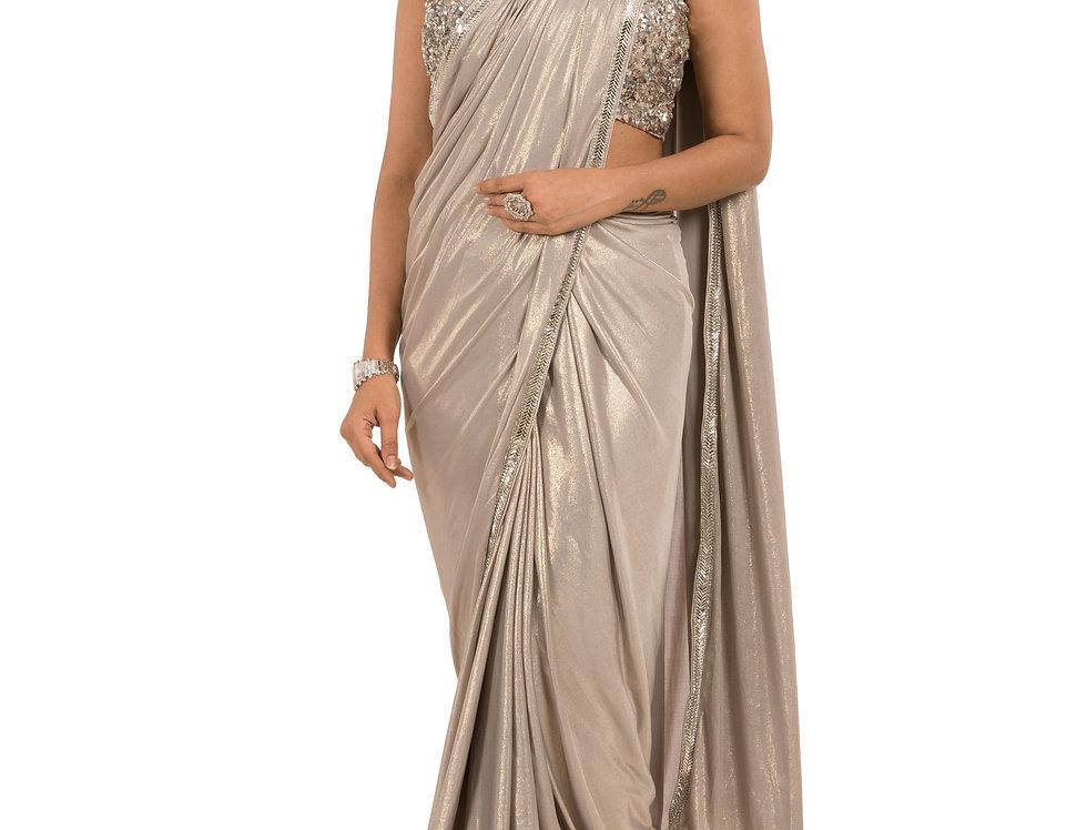 Grey Base Lycra Designer Stitch Draped Saree with Blouse (Style Code: 2390798)