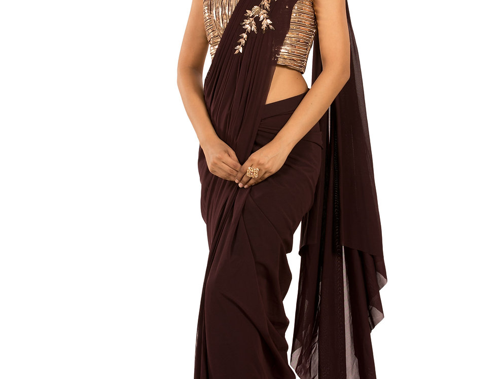 Wine Base Lycra Stitched Draped Saree with Heavy Blouse (Style Code: 2385384)