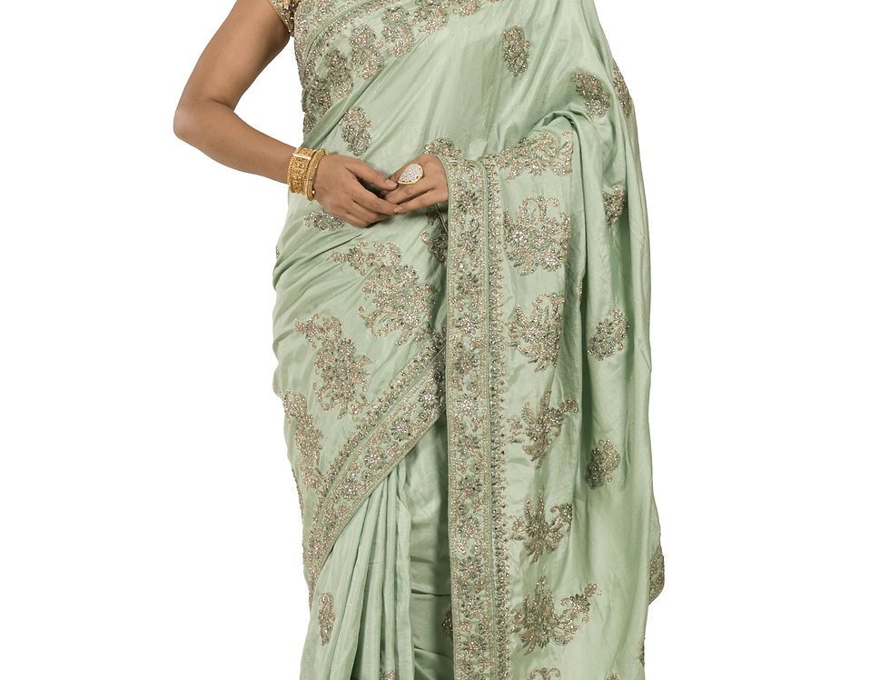 Sea Green Crepe Designer Saree with Stone Work & Blouse (Style Code: 2389741)