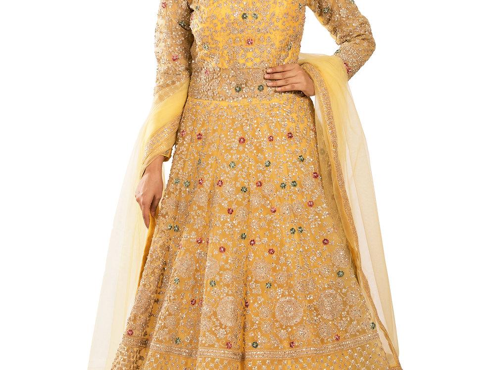 Yellow Anarkali Suit with Zari & Zarkan Work & Dupatta (Style Code: 2388042)