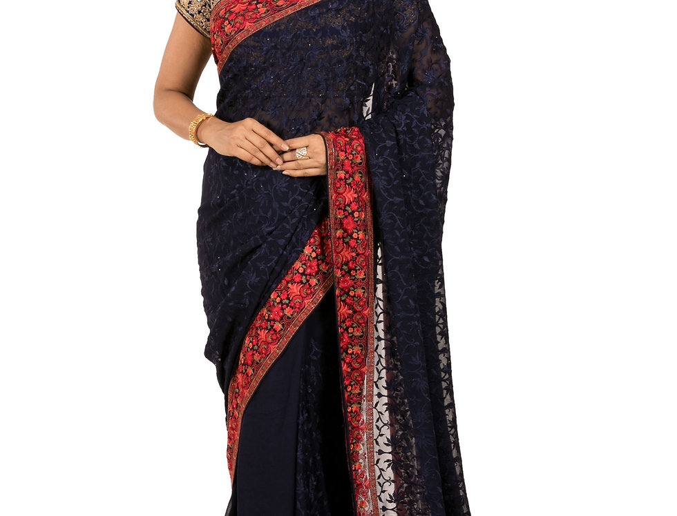 Navy Blue Georgette Designer Saree with Parsi Work & Blouse (Style Code:2368781)