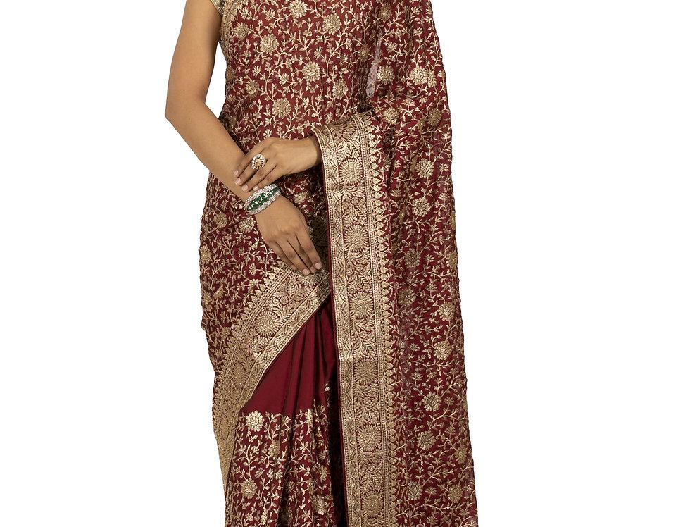 Maroon Base Chunon Designer Saree with Aari Work & Blouse (Style Code: 2378307)