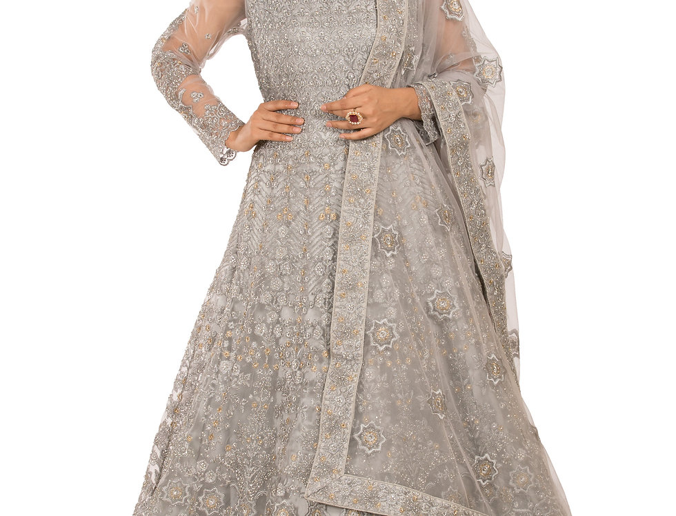 Grey Base Net Anarkali Suit with Embroidery & Dupatta (Style Code: 2389631)