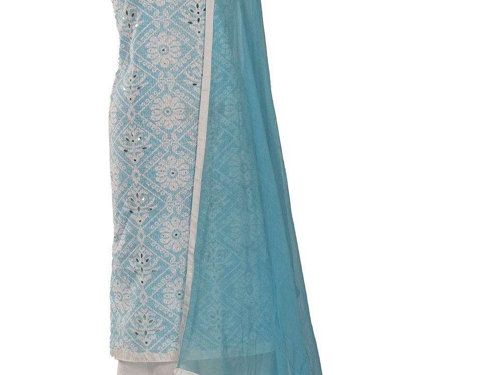 Sky Blue & White Cotton Unstitched Suit Salwar & Dupatta (Style Code: 2384047)