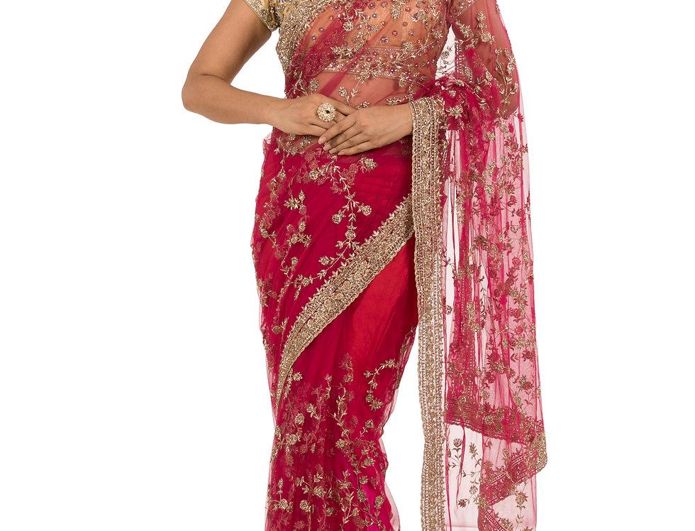 Red Base Net Designer Saree with Dabka Work & Blouse (Style Code: 2343785)