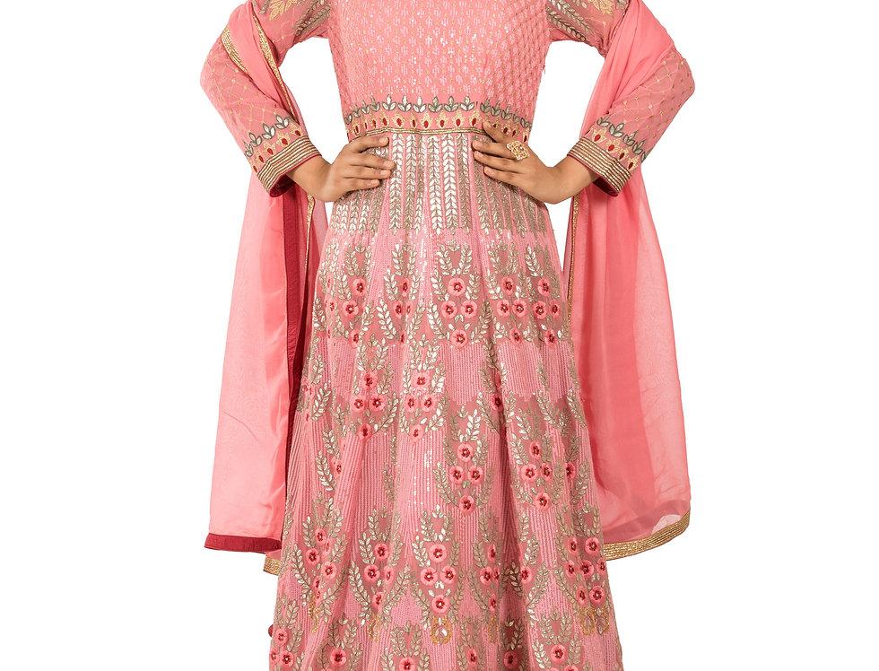 Pink Base Anarkali Suit with Gota Patti Work & Dupatta (Style Code: 2147701)