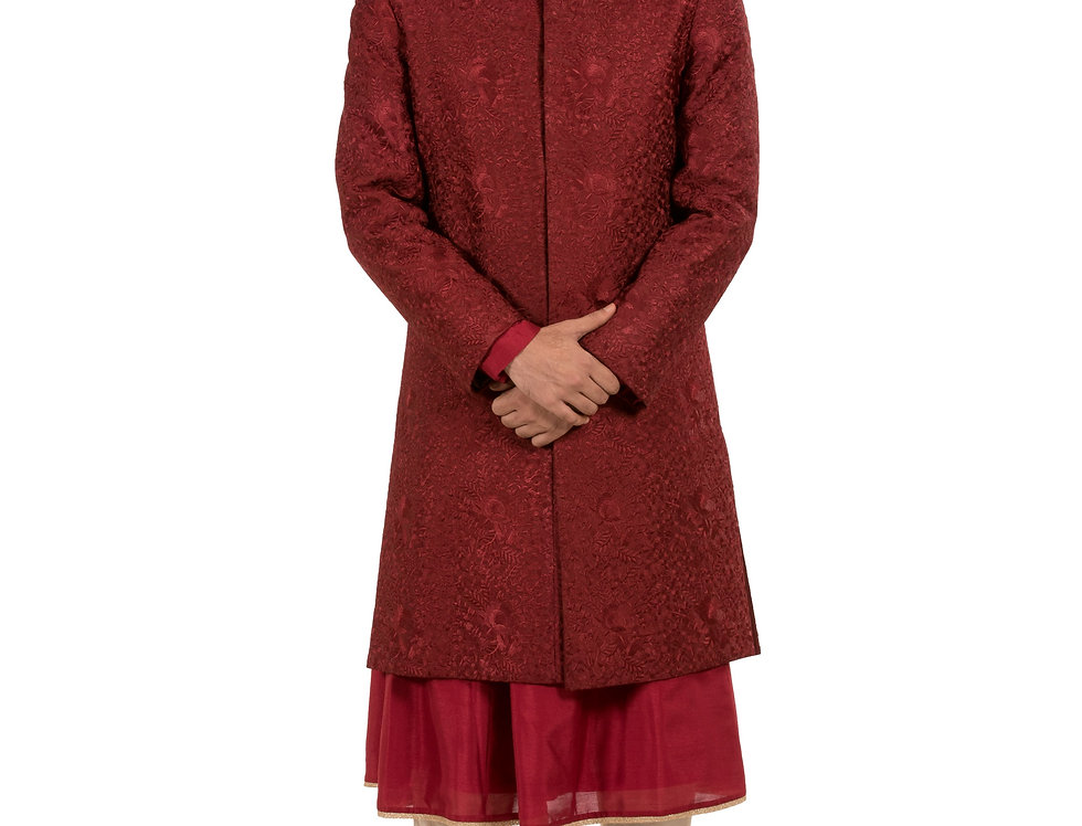 Red Base Dupion Anarkali Sherwani  & Churidar(Style Code: 2258172)