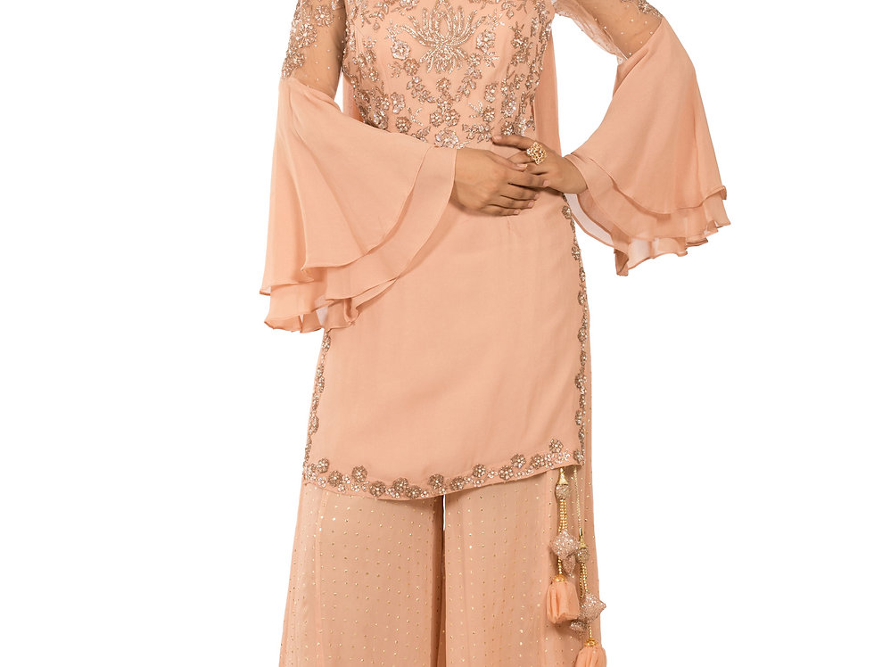 Fawn Base Readymade Georgette Suit with Garara & Dupatta (Style Code: 2380628)