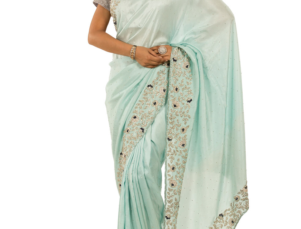 Firozi Base Chunon Designer Saree with Unstitched Blouse (Style Code: 2374233)