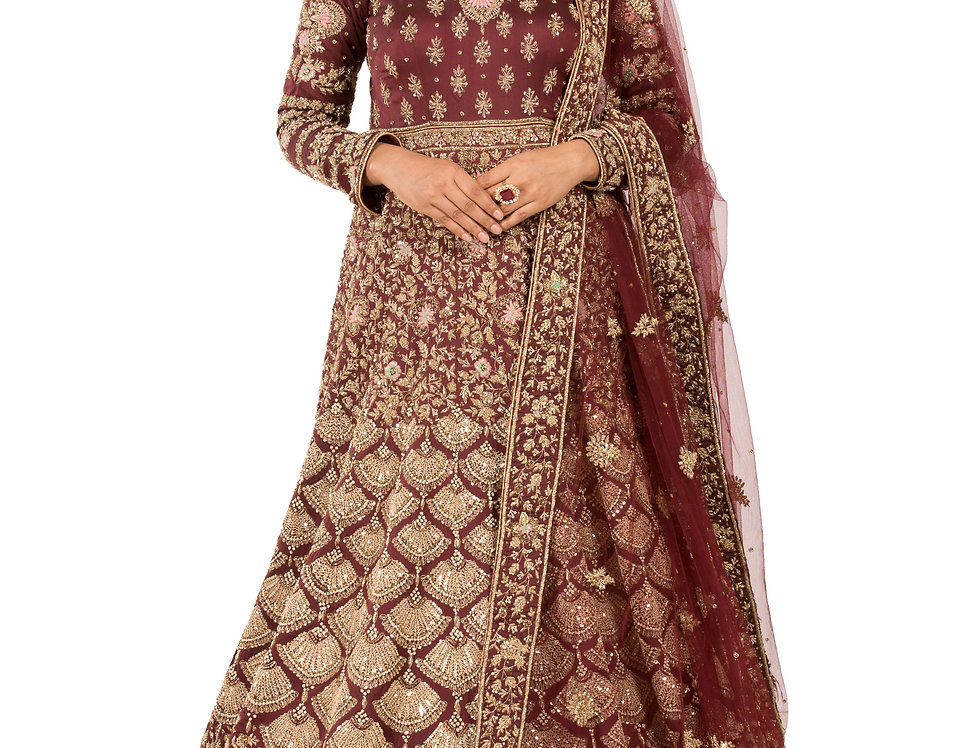 Maroon Base Anarkali Suit with Gold Zardozi Work & Dupatta (Style Code: 2267982)