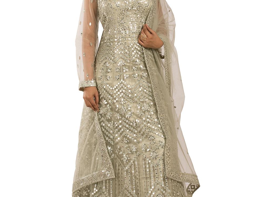Pista Green Anarkali Suit with Resham Work & Dupatta (Style Code: 2389563)