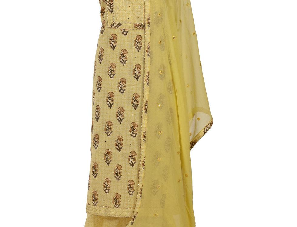 Lemon Base Cotton Unstitched Suit Salwar & Dupatta (Style Code: 2370268)