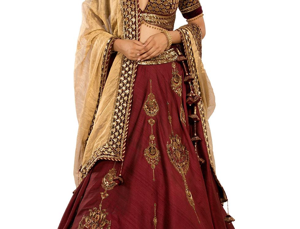 Maroon Silk Lehenga with Contrast Gold Dupatta (Style Code: 2386039)