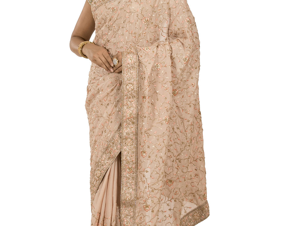Peach Base Crepe Designer Saree with Zari Work & Blouse (Style Code: 2389739)