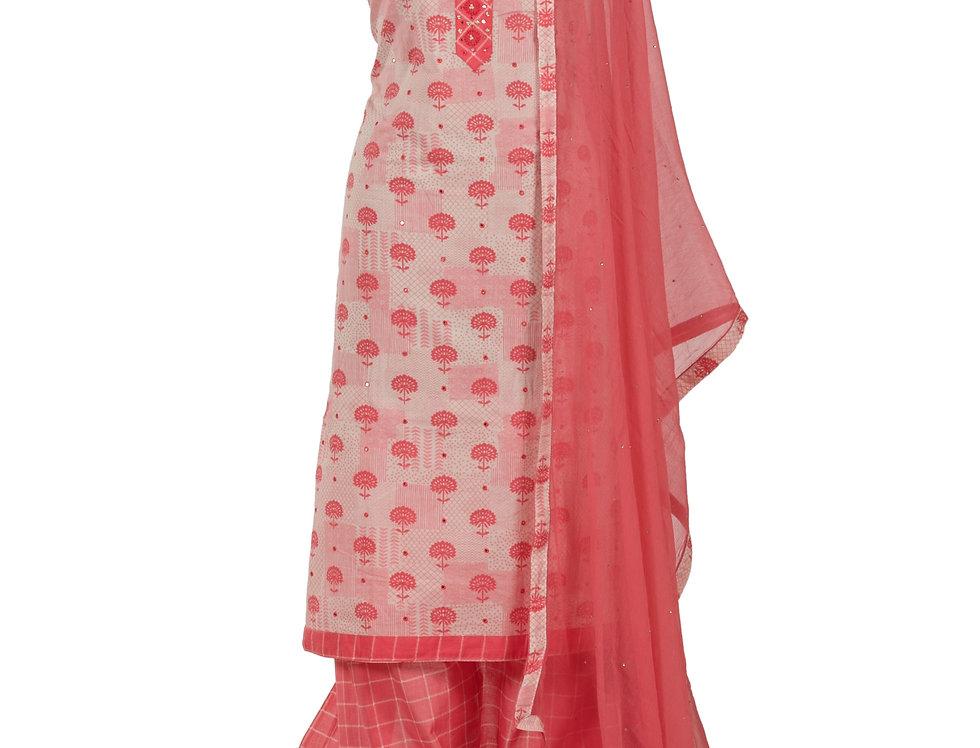Cream & Peach Base Cotton Unstitched Suit Salwar & Dupatta (Style Code: 2384118)